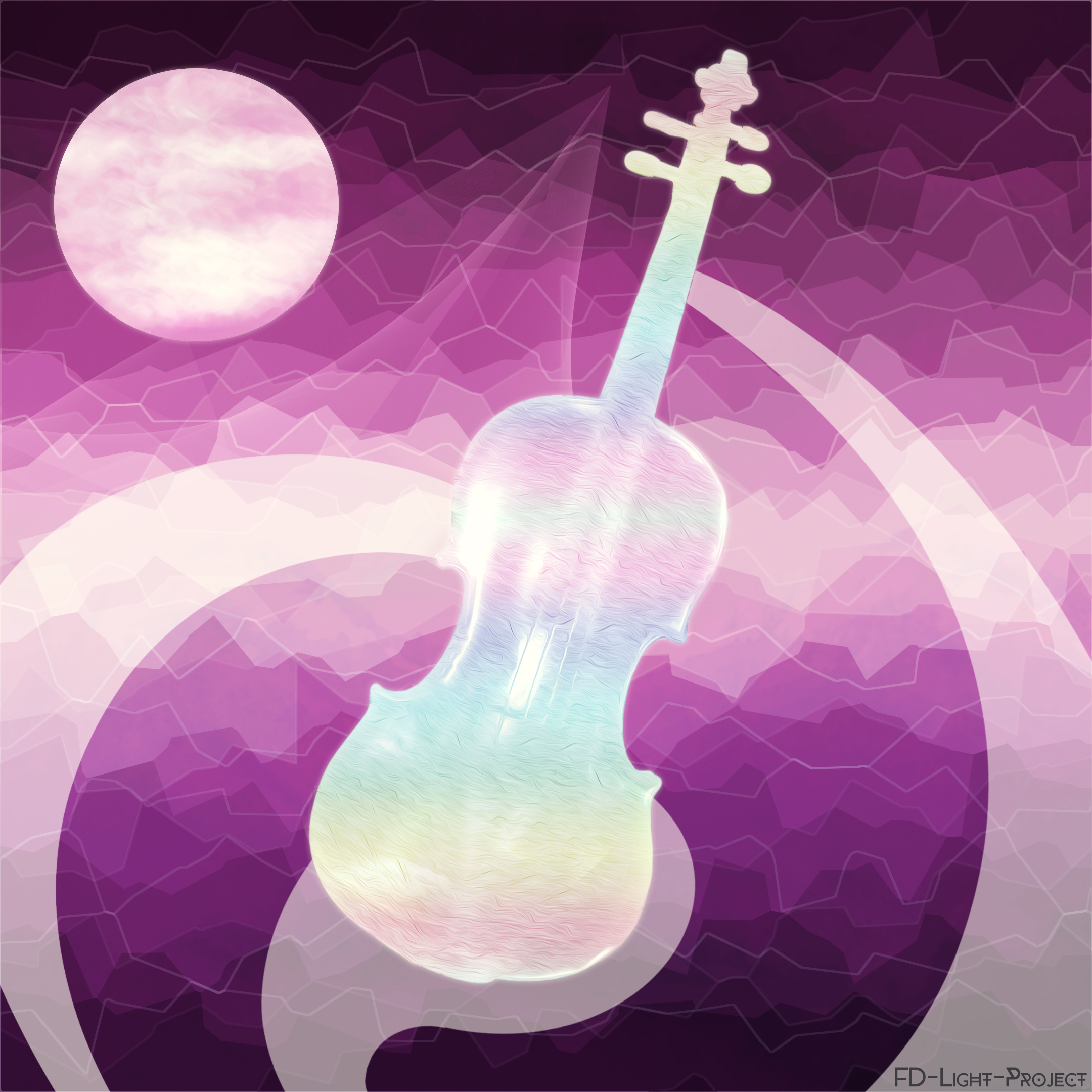 The cello and the moon - violet FD-Light-Project